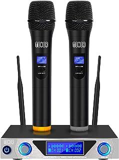 TONOR Sistema de Micrófono Inalámbrico de Mano VHF con Micrófonos Dinámicos de Mano doble y Pantalla LED para Karaoke Fies...