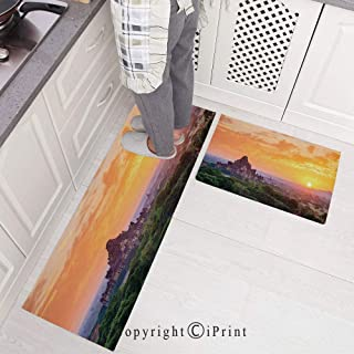 Kitchen Mat Set, 2 Piece Kitchen Rugs Cushioned Chef Non-Slip Rubber Back Floor Mats,Aerial View of Famous Asian on Top of The Mountain Horizon Mystery Scenery Washable Doormat Bathroom Runner Area R