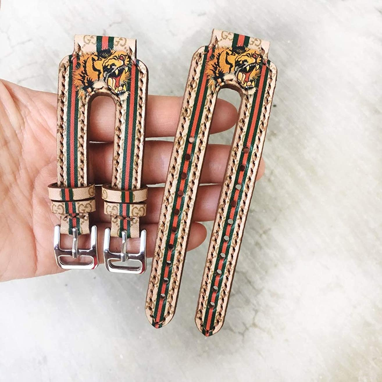 G*cci Monogram Tiger Double Cuff Leather Apple iWatch Band. Series 1, 2, 3, 4 for 38mm - 44mm HandMade by - DesignerBomb.