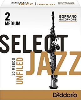 Rico Select Jazz Soprano Sax Reeds, Unfiled, Strength 2 Medium, 10-pack