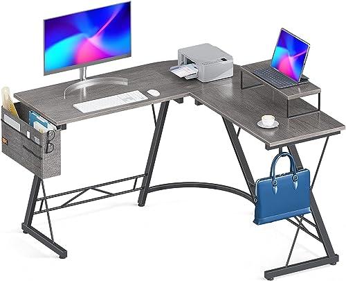 "discount Casaottima outlet online sale L Shaped Desk, 51"" Gaming Desk, Computer Desk, outlet online sale L Desk, Home Office Desk with Iron Hook, Movable Monitor Stand Workstation, Grey Oak online sale"