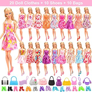 Barwa 20 Clothes Dresses + 10 PCS Shoes + 10 PCS Bags Selected Randomly for 11.5 Inch 28 - 30 cm Girl Dolls