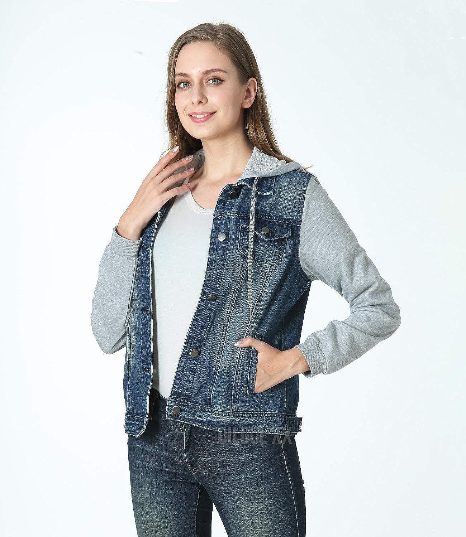 Dilgul Damen Jeansjacke mit Kapuze Frauen Vintage Jean Mantel Übergangs Denim Jacke Dunkelblau