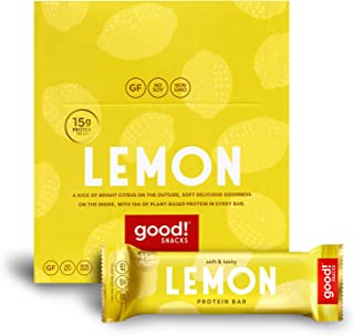 good! Snacks Vegan Lemon Protein Bar | Gluten-Free, Plant Based, Low Sugar, Kosher, Soy Free, Non GMO | 15g Protein (12 Bars)�