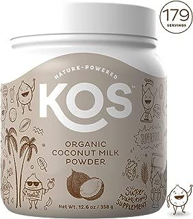 KOS Organic Coconut Milk Powder - Unsweetened, Dairy Free Coffee Creamer - Vegan, Non GMO, Gluten Free, Soy Free, Lactose Free - Keto & Paleo Friendly - 12.6oz (179 Servings)