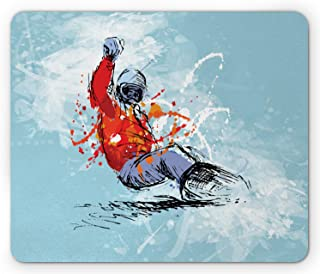 Lunarable Snowboard Mouse Pad, Sketchy Colored Hand Drawing Brush Strokes, Rectangle Non-Slip Rubber Mousepad, Standard Si...
