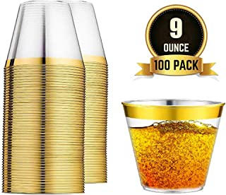 100 Gold Rimmed Hard & Clear Plastic Party Cups – Smooth Rim – Ideal as Wedding Cups, Cocktail Disposable Plastic Glasses – Classic Tumbler Design – Convenient & Elite Party Supplies & Decoration