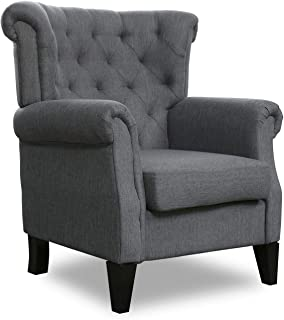 Top Space Fabric Accent Chair Mid Century Upholstered Fabric Single Arm Sofa Modern Comfy Indoor Decorative Furniture for Living Room,Bedroom,Club,Office (Dark Grey)