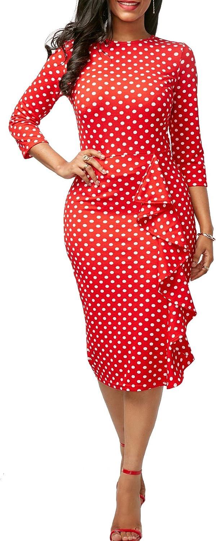 Women Elegant Polka Dot Crewneck 3/4 Sleeve Peplum Bodycon Party Midi Club Dress
