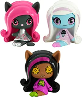 Monster High Minis Rag Doll Ghouls Clawdeen Wolf, a sparkling Candy Ghouls Abbey Bominable and an Original Ghouls Catty Noir Figures, 3 Pack
