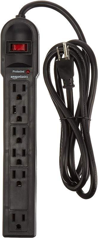 AmazonBasics 6 Outlet Surge Protector Power Strip 6 Foot Long Cord 790 Joule Black