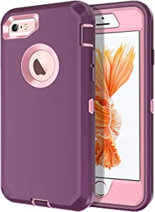 I-HONVA for iPhone 6s Plus Case, iPhone 6 Plus Case Built-in Screen Protector Shockproof 3-Layer Full Body Protection Rugged Heavy Duty Durable Cover Case for Apple iPhone 6 Plus/6s Plus, Purple/Pink