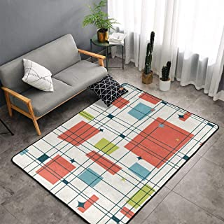 Memory Foam Kitchen Rug for Hotel Children Bedroom Bedroom, Non-Slip Backing Floor Pad Rugs Luxurious Throw Rugs Carpet, Machine Washable, Abstract Mid Century Modern Grid Rugs