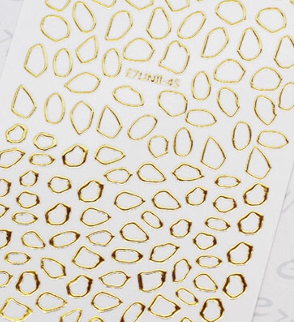 家族スカイファウル極薄直接貼るタイプ ネイルシール スティッカー 枠 変形フレーム 垂らしこみアート用 多種多様なデザインに対応可能 ゴールド 金色 45番