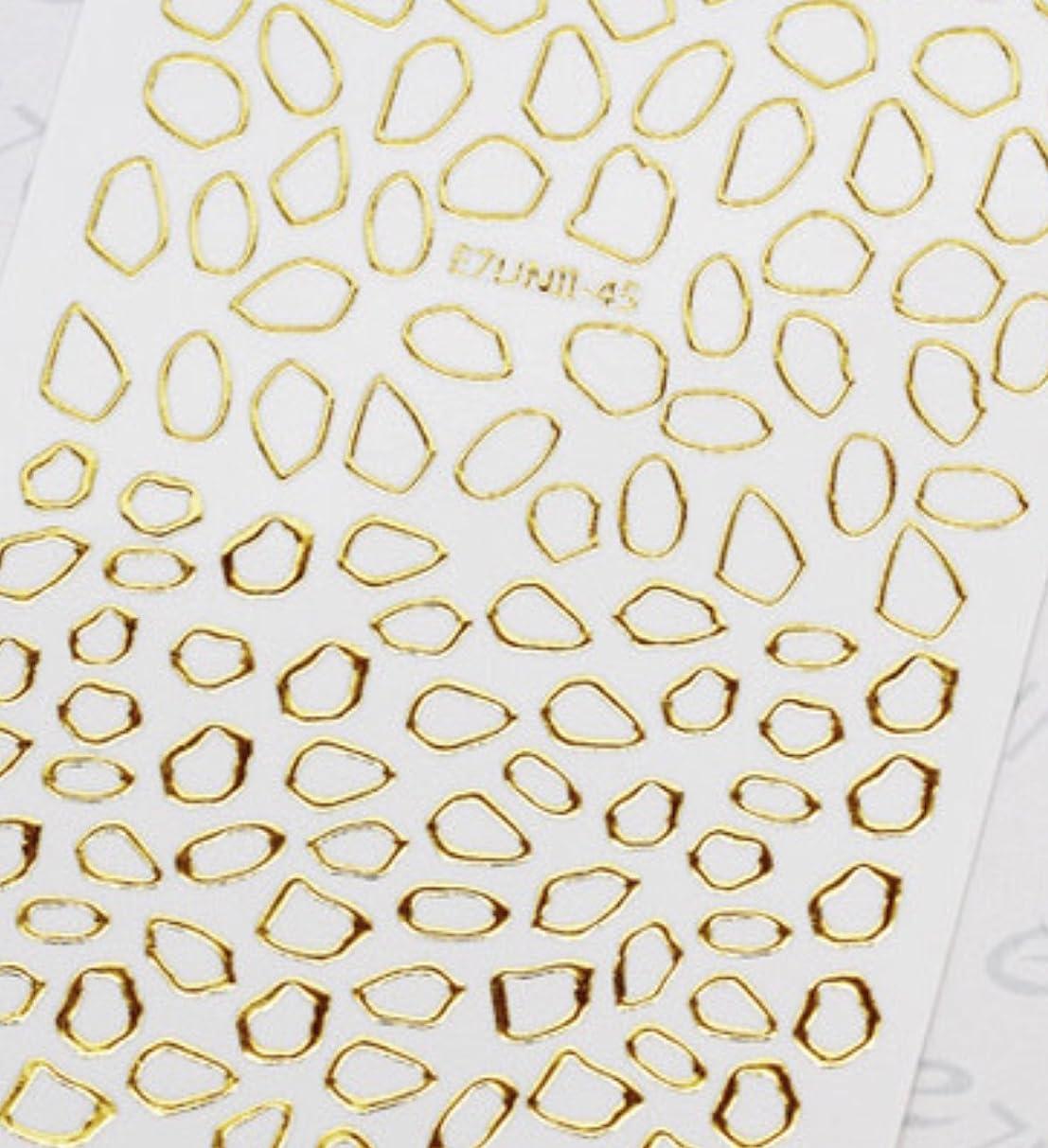 容量免除する厚い極薄直接貼るタイプ ネイルシール スティッカー 枠 変形フレーム 垂らしこみアート用 多種多様なデザインに対応可能 ゴールド 金色 45番