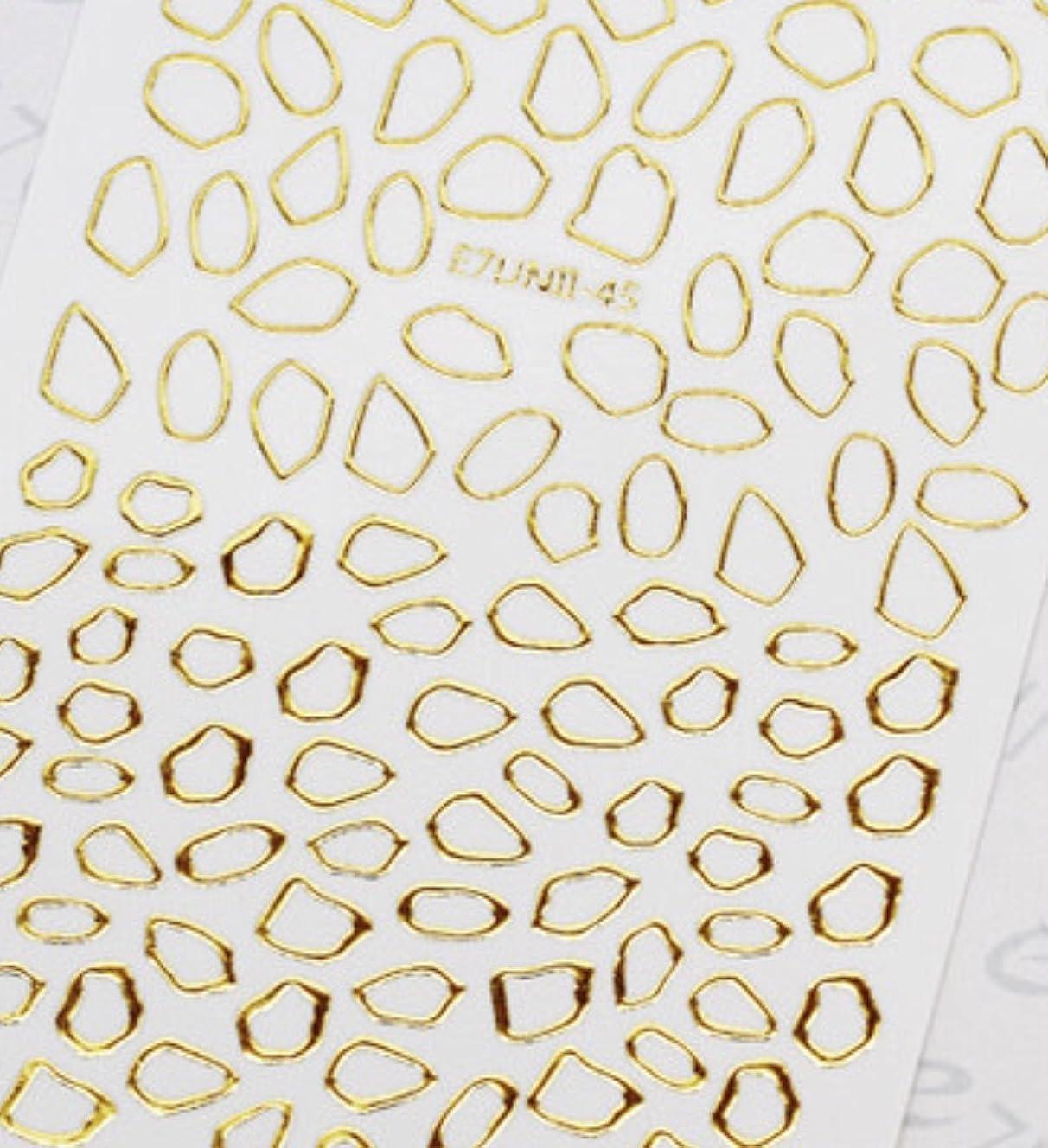 一族放課後仲良し極薄直接貼るタイプ ネイルシール スティッカー 枠 変形フレーム 垂らしこみアート用 多種多様なデザインに対応可能 ゴールド 金色 45番