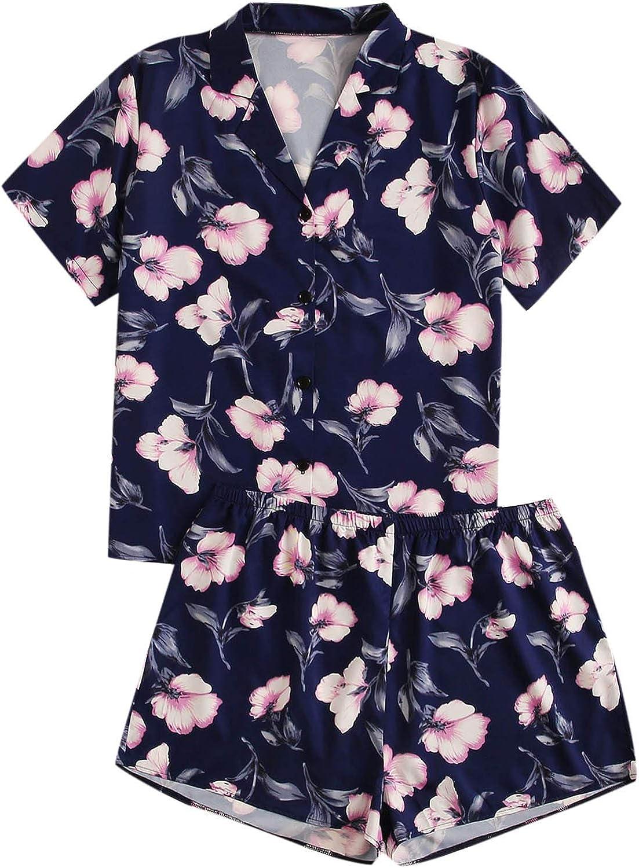 MakeMeChic Women's Floral Satin Sleepwear Notch Collar 2 Piece Pajama Set Plus Size
