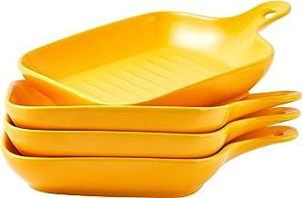 "Bruntmor Set Of 4 Matte Glaze Ceramic Food Serving Plate With Skillet Look Handle Baking Dish 6.5"" Dinner Plates, Yellow"