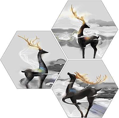 SAF 6MM MDF Hexagon Reindeer Painting Digital Reprint 21 inch x 21 inch Painting () SANFHX46