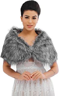 Feality Women's Faux Fur Shawls and Wraps Wedding Fur Stole 1920s Bridal Fur Shrugs for Evening Dresses