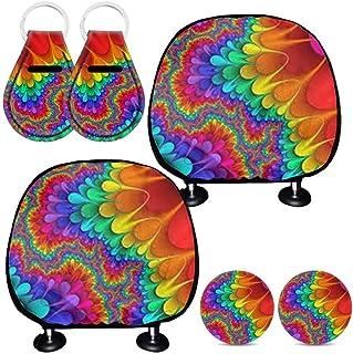 Conjunto de acessórios para automóveis coloridos Gostong Rainbow com 6 peças, inclui 2 capas protetoras de encosto de cabe...