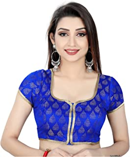 Ocean Fashion Women's Brocade And Georgette Pink Round Neck Readymade Saree Blouse