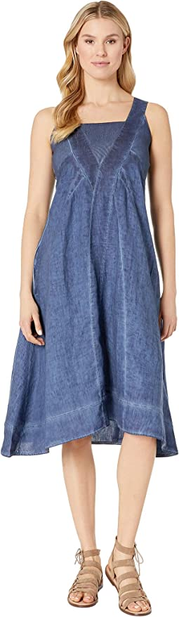 Stone Wash Linen Long Dress with Seam Detail