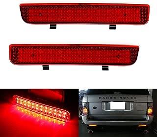 iJDMTOY Red Lens 24-SMD LED Bumper Reflector Lights For 03-12 Land Rover Range Rover, 08-15 Freelander 2 LR2, Function as Tail, Brake & Rear Fog Lamps