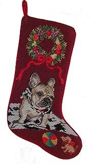French Bulldog Dog Needlepoint Christmas Stocking
