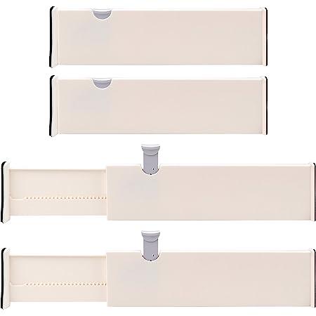 Kurtzy Separateur Tiroirs en Plastique Modulable (Lot de 4) - 37,5 x 10 cm - Diviseur de Tiroir Extensible - Organisateur Tiroir Cuisine, Chambre, Salle de Bain, Bureau, Placard et Commode