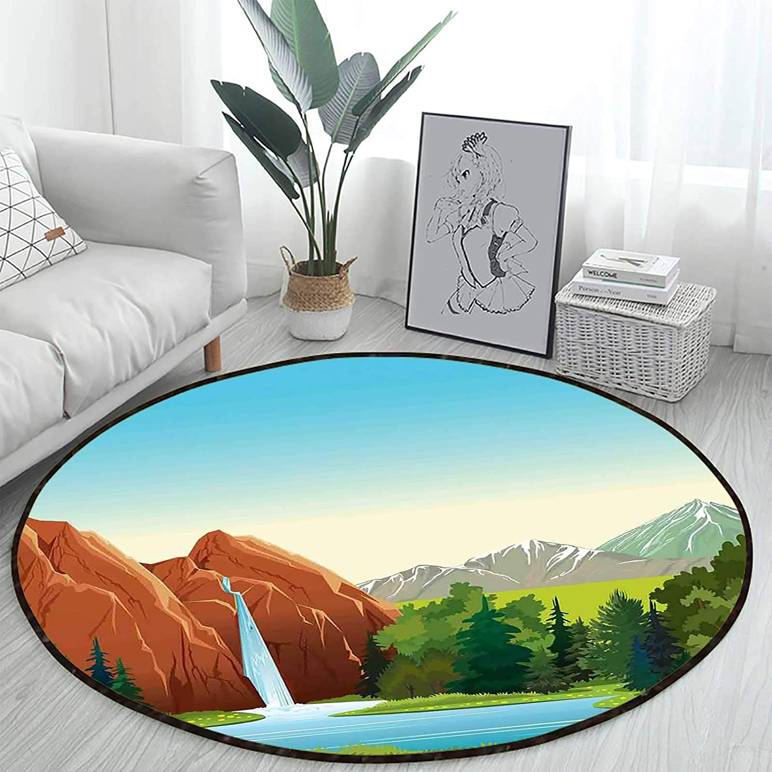 Summer Landscape Woodland High material Round Area Bac Non-Slip Throw Beauty products Rugs Rug