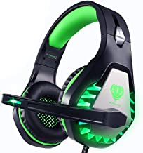 Pacrate Gaming Headset for PS4, PC,Headset with 3.5mm Stereo Surround Sound Over Ear Headphones with Noise Cancelling Microphone, LED Lights & Soft Memory Earmuffs for Laptop