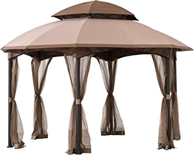 Sunjoy A101011800 Louisiana 13x13 ft. Steel Gazebo with 2-Tier Dome Canopy, Tan and Brown