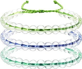 meekoo 3 Pieces Transparent Glass Bead Bracelet Clean Bead Bracelet Upcycled Jewelry Weaving Bracelet Adjustable Handmade Unisex Design