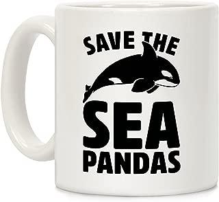 LookHUMAN Save The Sea Pandas Mug White 11 Ounce Ceramic Coffee Mug