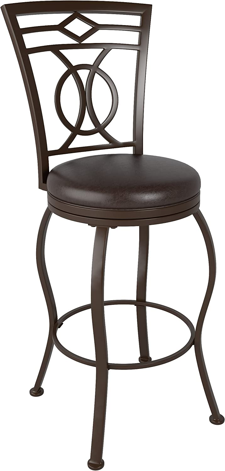 CorLiving DJS-823-B Jericho Metal Bar Height Barstool with Dark Brown Bonded Leather Seat