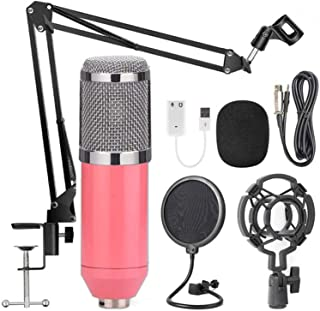 AUSELECT USB Streaming Podcast PC Microphone Pink, SUDOTACK professional 96KHZ/24Bit Studio Cardioid Condenser Mic Kit wit...