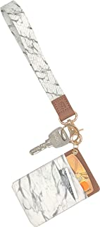 Tovly Lanyard Key Chain Holder Hand Wrist Lanyards for Keys Wallets Phone Badges with Card Holder (White Marble)