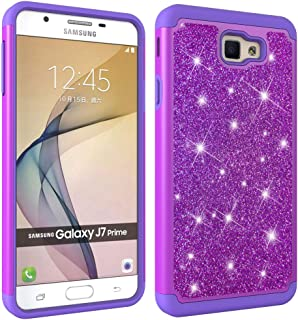 Aiyze Compatible Samsung Galaxy J7 Prime Case,On7 2016 Case, G610 Case Tough Dual Layer 2 in 1 Rugged Rubber Silicone Hybrid Hard Soft TPU Impact Back Glitter Powder Bling Protective Cover - Purple