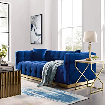 Modway Vivacious Square Tufted Upholstered Performance Velvet Sofa with Two Throw Pillows in Navy