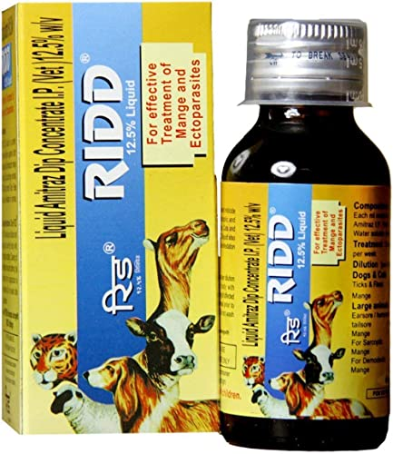 Goofy Tails Ridd Anti Tick and Flea Solution 12.5% for Effective Treatment Of Mange and Ectoparasites (60ml, Large)