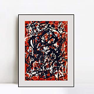 INVIN ART Framed Canvas Art Free Form by Jackson Pollock Abstract Wall Art Living Room Home Office Decorations(Aluminum Metal Black Frame with Mat & Glass,24