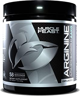 MUSCLE FEAST AAKG Arginine Alpha-Ketoglutarate 2:1 Ratio, 3400 mg Per Serving, Non-GMO, Gluten Free, Vegan,...