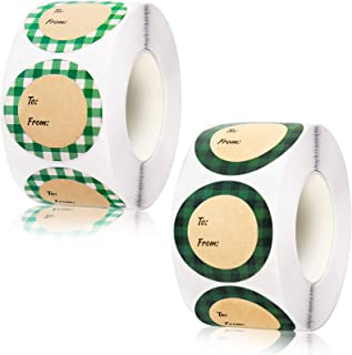 1000 Pieces St. Patrick's Day Roll Stickers 1.5 Inch Saint Patrick Plaid to and from Stickers Round Self Adhesive Labels S...