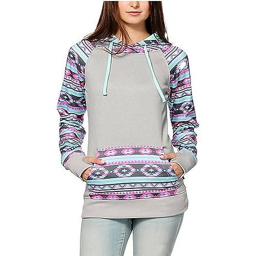 93178fa19b2 Women s Geometric Tribal Print Kangaroo Pocket Drawstring Hooded Sweatshirt