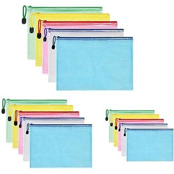 5*A3+10*A4 Sacchetto di Zip Impermeabile Mesh Sacchetto del Documento 10* A4 Cartelline Portadocumenti in Plastica Buste con Bottone MonQi 25 Pezzi Borse di File