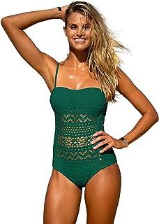 Women's Crochet Lace Halter Straps Swimsuits Bathing Suit US 0-16