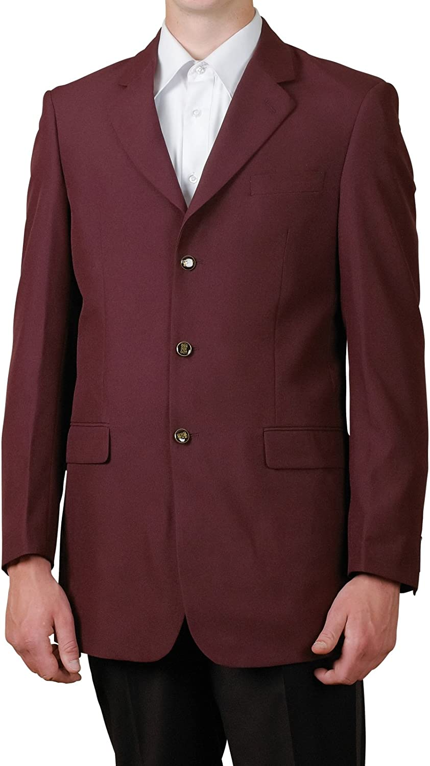New Mens 3 Button Single Breasted Burgundy/Maroon Blazer Sportcoat Suit Jacket