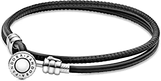 Pandora Women Leather Wrap Bracelet, 38 Cm - 597194Cbk-D2 - Black (597194CBK-D3)
