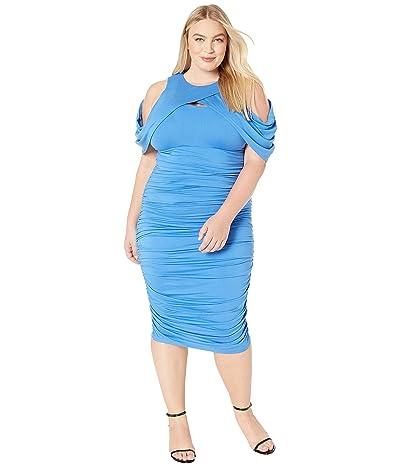 Kiyonna Bianca Ruched Dress (Summer Blue) Women